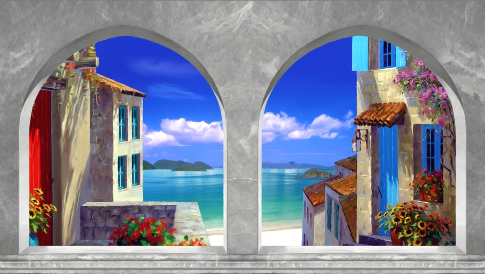 Archi finestre con paesaggi decorazioni per pareti poster adesivi murali pannelli decorativi - Quadri con finestre ...